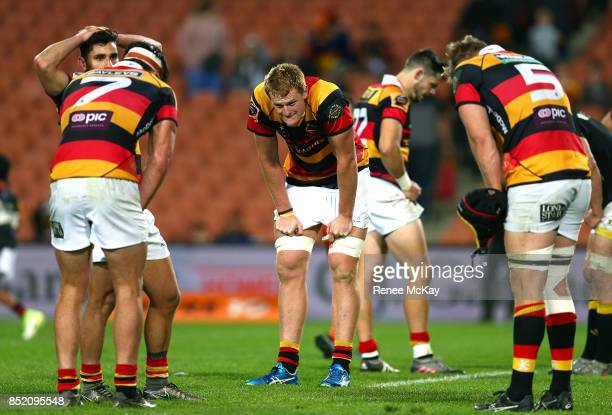 Dejected Waikato players during the round six Mitre 10 Cup match between Waikato and Wellington at FMG Stadium on September 23 2017 in Hamilton New...