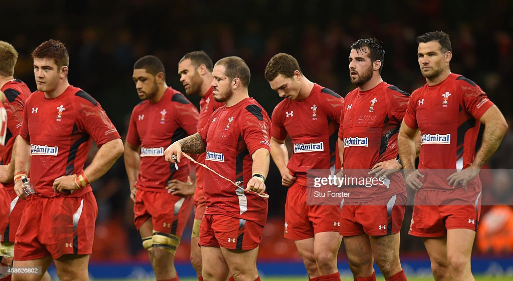 Dejected Wales players look on after the Autumn international match between Wales and Australia at Millennium Stadium on November 8, 2014 in Cardiff, Wales.
