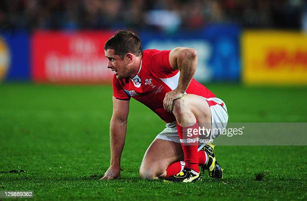 A dejected Wales wing Shane Williams looks on after the 2011 IRB Rugby World Cup bronze final match between Wales and Australia at Eden Park on...