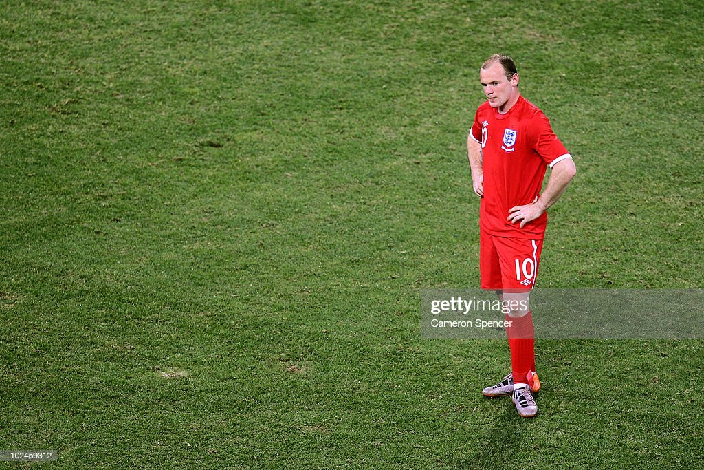 Dejected Wayne Rooney of England during the 2010 FIFA World Cup South Africa Round of Sixteen match between Germany and England at Free State Stadium on June 27, 2010 in Bloemfontein, South Africa.