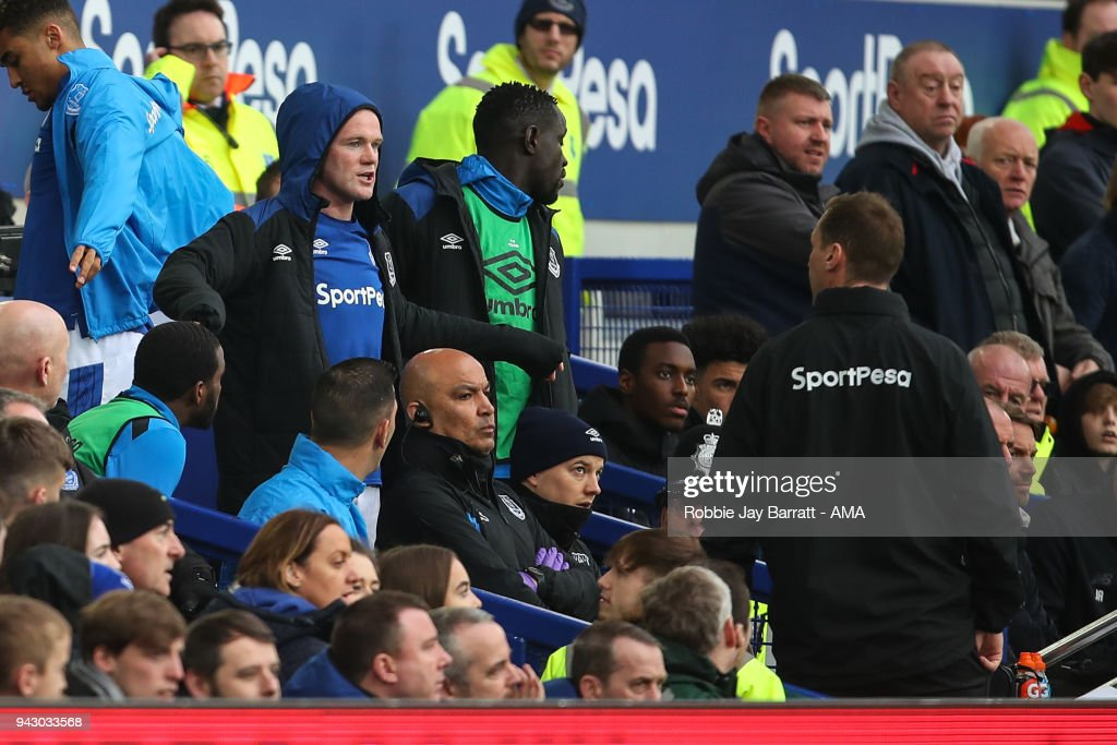 A dejected Wayne Rooney of Everton reacts towards Duncan Ferguson assistant head coach / manager of Everton after being substituted off during the Premier League match between Everton and Liverpool at Goodison Park on April 7, 2018 in Liverpool, England.
