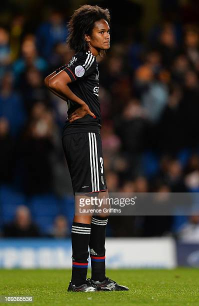 A dejected Wendie Renard of Olympique Lyonnais looks on after defeat in the UEFA Women's Champions League Final Match between VfL Wolfsburg and...