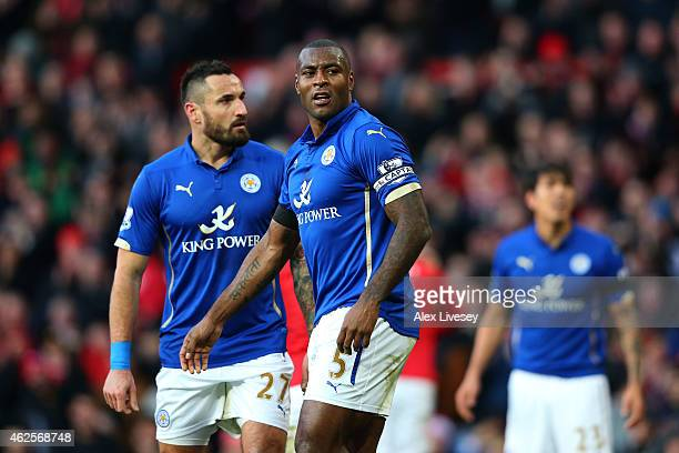 A dejected Wes Morgan of Leicester City looks on after scoring an own goal to give Manchester United a 30 halftime lead during the Barclays Premier...