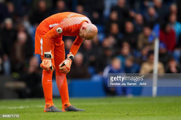 A dejected Wilfredo Caballero of Chelsea after conceding a goal to make it 11 during the Premier League match between Chelsea and Tottenham Hotspur...
