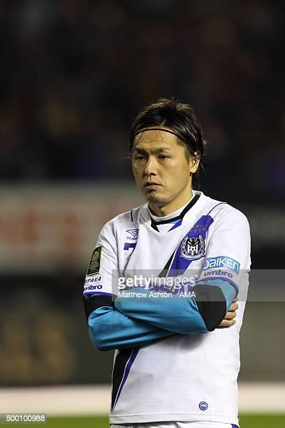 A dejected Yasuhito Endo of Gamba Osaka after losing the JLeague 2015 Championship final 2nd leg match between Sanfrecce Hiroshima and Gamba Osaka at...
