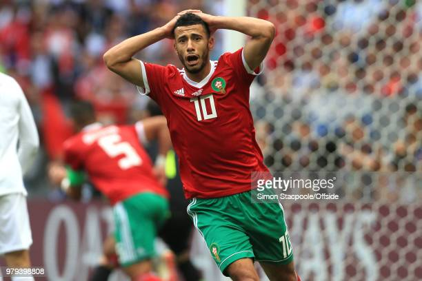 Dejected Younes Belhanda of Morocco reacts after missing a chance during the 2018 FIFA World Cup Russia group B match between Portugal and Morocco at...
