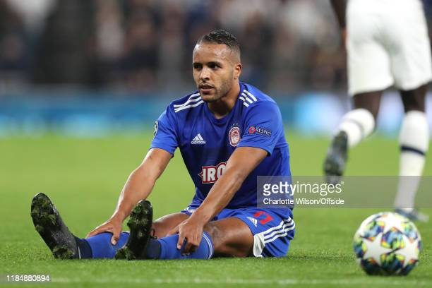 A dejected Youssef El Arabi during the UEFA Champions League group B match between Tottenham Hotspur and Olympiacos FC at Tottenham Hotspur Stadium...