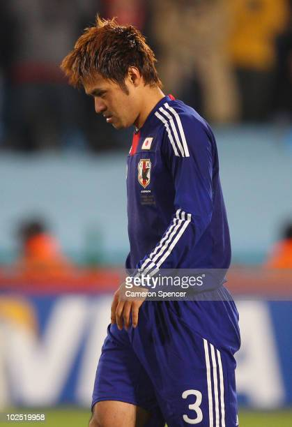 Dejected Yuichi Komano of Japan after his missed penalty ultimately sends Japan out of the tournament in a shoot-out during the 2010 FIFA World Cup...