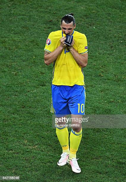 A dejected Zlatan Ibrahimovic of Sweden leaves the field after defeat in the UEFA EURO 2016 Group E match between Sweden and Belgium at Allianz...