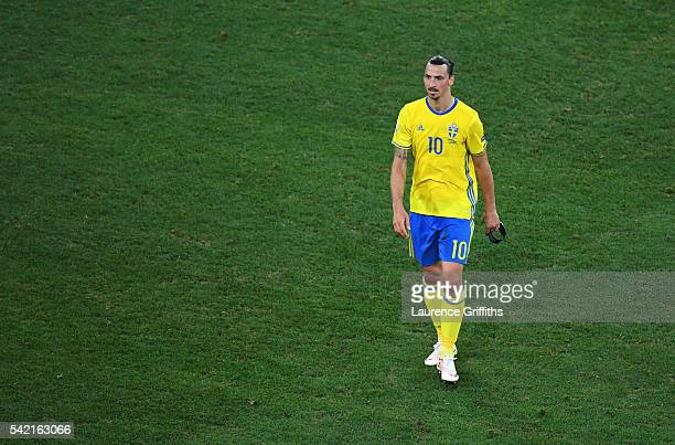 Dejected Zlatan Ibrahimovic of Sweden leaves the field after defeat in the UEFA EURO 2016 Group E match between Sweden and Belgium at Allianz Riviera...