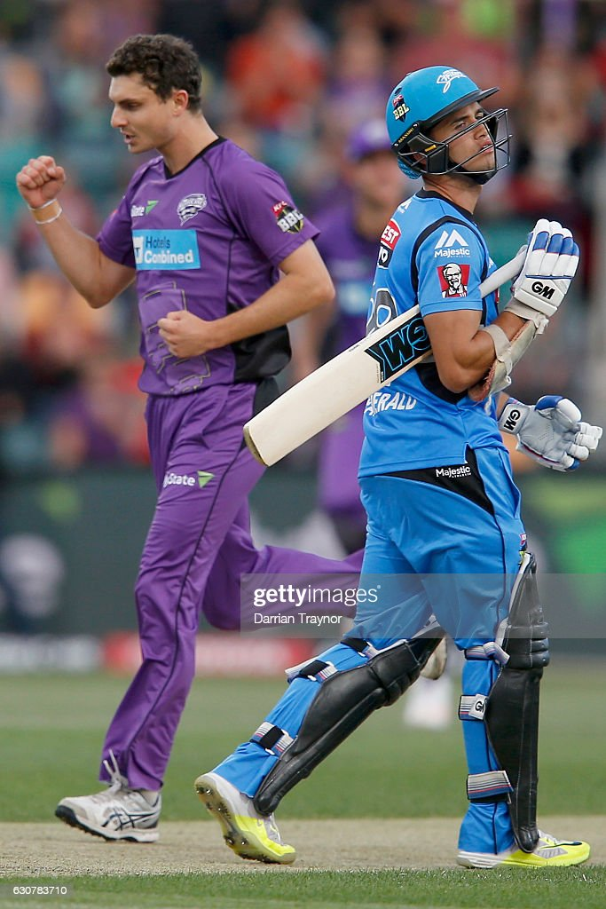 A dejectewd Jake Weathered of the Adelaide Strikers walks off after being dismissed by Simon Milenko of the Hobart Hurricanes during the Big Bash League match between the Hobart Hurricanes and Adelaide Strikers at Blundstone Arena on January 2, 2017 in Hobart, Australia.
