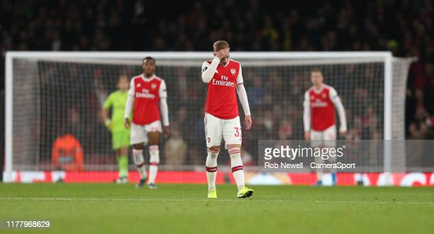 Dejection for Arsenal during the UEFA Europa League group F match between Arsenal FC and Vitoria Guimaraes at Emirates Stadium on October 24 2019 in...