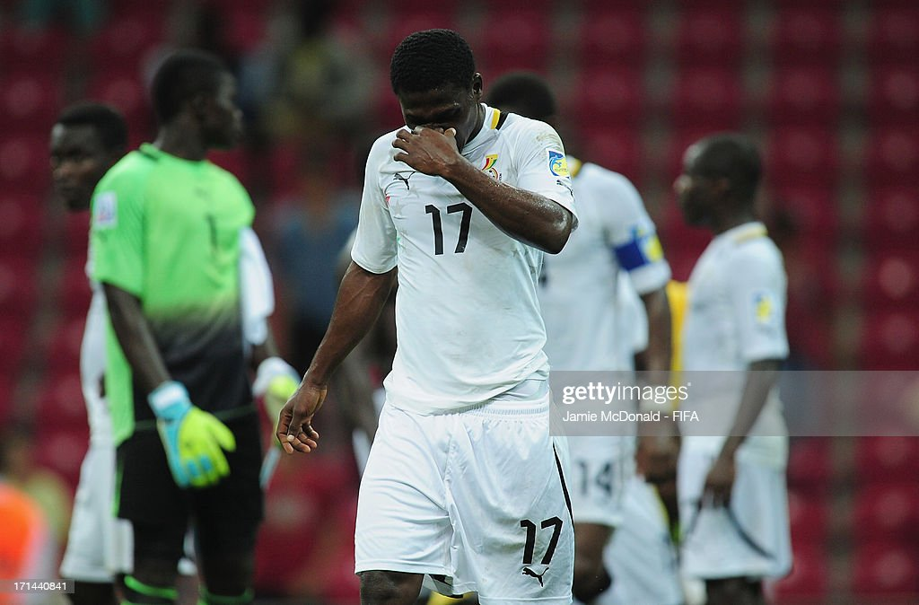 Dejection for Ebenezer Assifuah of Ghana as they exit the competition during the FIFA U-20 World Cup Group A match between Spain and Ghana at the Ali Sami Yen Arena on June 24, 2013 in Istanbul, Turkey.