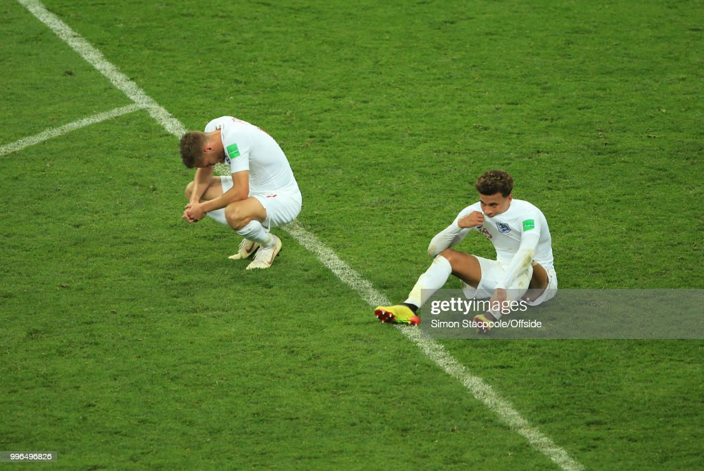 Dejection for Kieran Trippier and Dele Alli of England at the final whistle of the 2018 FIFA World Cup Russia Semi Final match between Croatia and England at the Luzhniki Stadium on July 11, 2018 in Moscow, Russia.