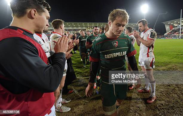 Dejection for Matthew Tait of Leicester Tigers after this afternoons European Rugby Champions Cup Pool 3 match between Ulster Rugby v Leicester...