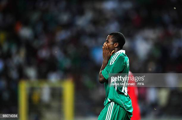 Dejection for Sani Emmanuel as Nigeria lose the FIFA U17 World Cup during the FIFA U17 World Cup Final match between Switzerland and Nigeria at the...