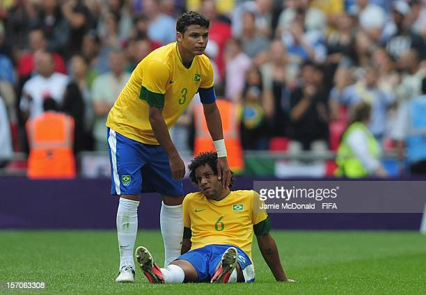 Dejection for Silva Thiago and Marcelo of Brazil during the Men's Football Gold Medal match between Brazil and Mexico on Day 15 of the London 2012...