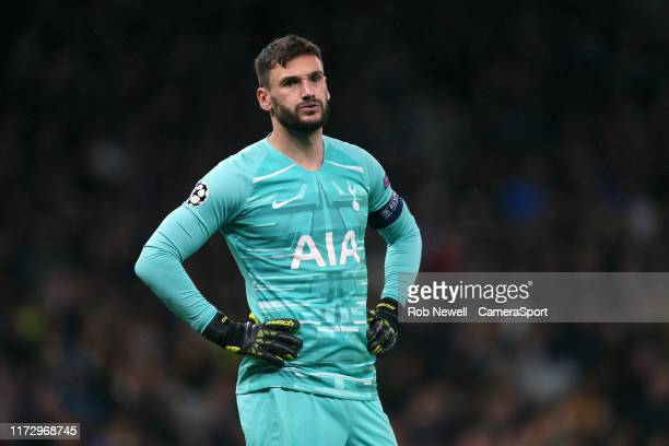 Dejection for Tottenham Hotspur's Hugo Lloris during the UEFA Champions League group B match between Tottenham Hotspur and Bayern Muenchen at...