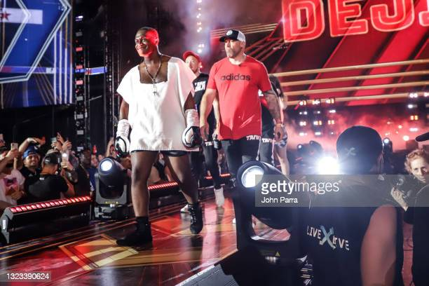 Deji Olatunji enters the ring during LivexLive's Social Gloves: Battle Of The Platforms PPV Livestream at Hard Rock Stadium on June 12, 2021 in Miami...