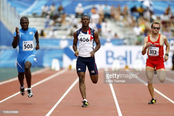 Deji Tobais of Great Britain runs in the 100 Metres round one heat on day two of the 13th IAAF World Junior Championships at the Stade Moncton 2010...