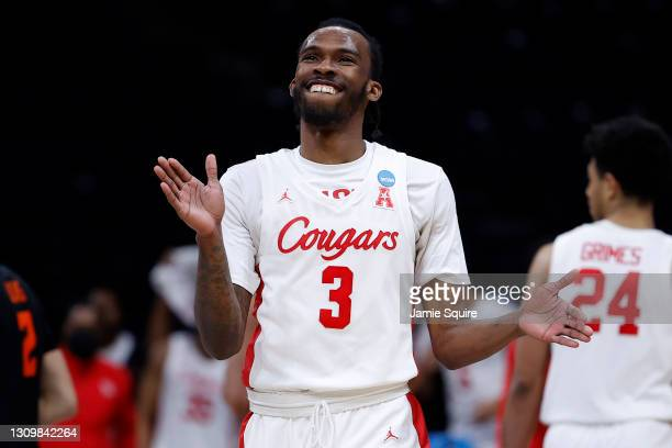 DeJon Jarreau of the Houston Cougars reacts against the Oregon State Beavers during the second half in the Elite Eight round of the 2021 NCAA Men's...