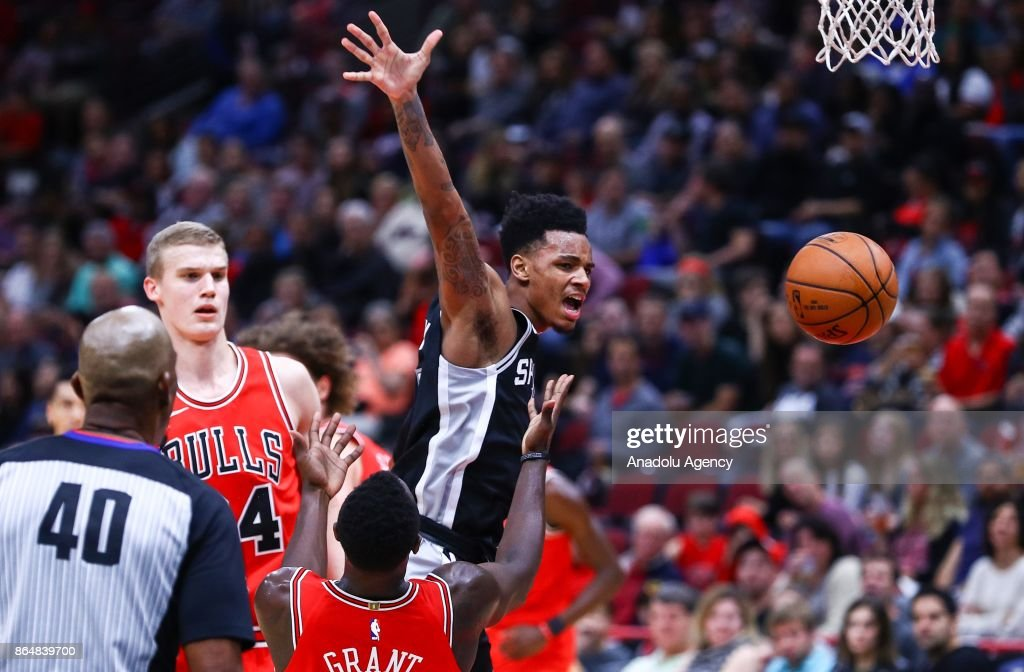 Dejounte Murray of San Antonio Spurs in action during a preseason NBA game between Chicago Bulls and San Antonio Spurs at the United Center on October 21, 2017 in Chicago, United States.