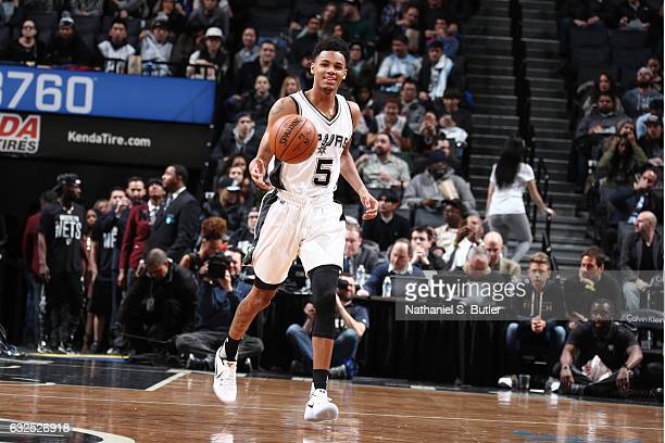 Dejounte Murray of the San Antonio Spurs brings the ball up court against the Brooklyn Nets during the game on January 23 2017 at Barclays Center in...