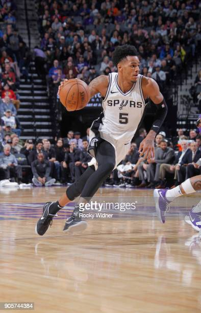 Dejounte Murray of the San Antonio Spurs drives against the Sacramento Kings on January 8 2018 at Golden 1 Center in Sacramento California NOTE TO...