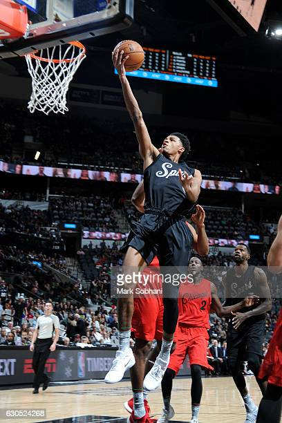 Dejounte Murray of the San Antonio Spurs goes for the lay up during the game against the Chicago Bulls on December 25 2016 at the ATT Center in San...