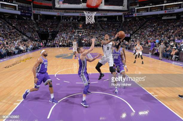 Dejounte Murray of the San Antonio Spurs goes up for the shot against the Sacramento Kings on January 8 2018 at Golden 1 Center in Sacramento...