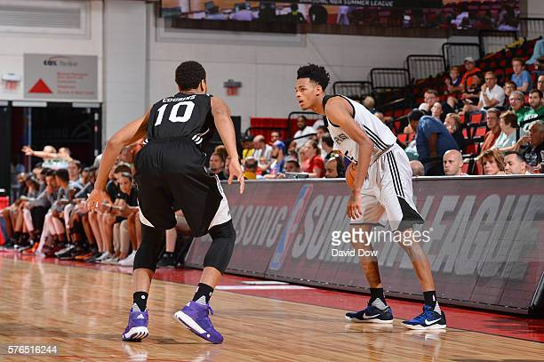 Dejounte Murray of the San Antonio Spurs handles the ball against the Sacramento Kings during the 2016 NBA Las Vegas Summer League game on July 15...