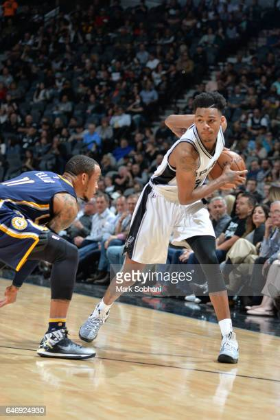 Dejounte Murray of the San Antonio Spurs handles the ball against the Indiana Pacers during the game on March 1 2017 at the ATT Center in San Antonio...