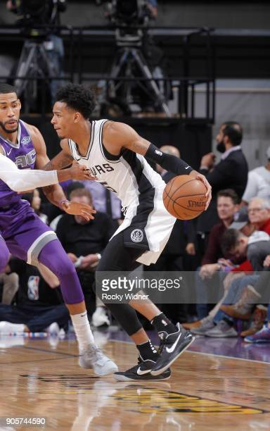 Dejounte Murray of the San Antonio Spurs handles the ball against the Sacramento Kings on January 8 2018 at Golden 1 Center in Sacramento California...