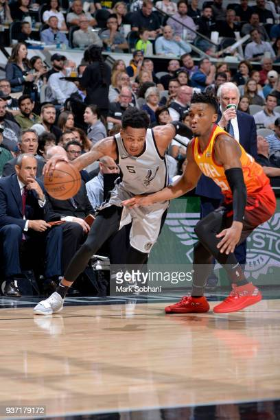 Dejounte Murray of the San Antonio Spurs handles the ball against the Utah Jazz on March 23 2018 at the ATT Center in San Antonio Texas NOTE TO USER...