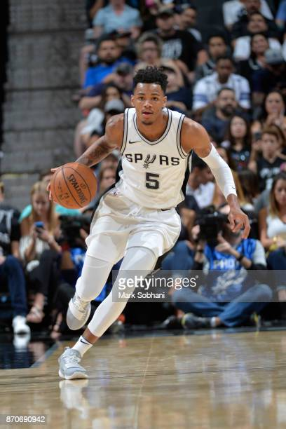 Dejounte Murray of the San Antonio Spurs handles the ball during the game against the Phoenix Suns on November 5 2017 at the ATT Center in San...