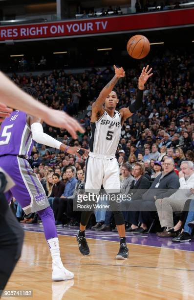 Dejounte Murray of the San Antonio Spurs passes against the Sacramento Kings on January 8 2018 at Golden 1 Center in Sacramento California NOTE TO...