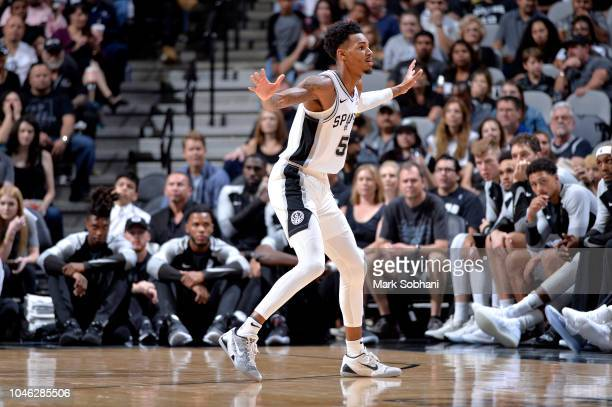 Dejounte Murray of the San Antonio Spurs plays defense against the Detroit Pistons during a preseason game on October 5 2018 at the ATT Center in San...