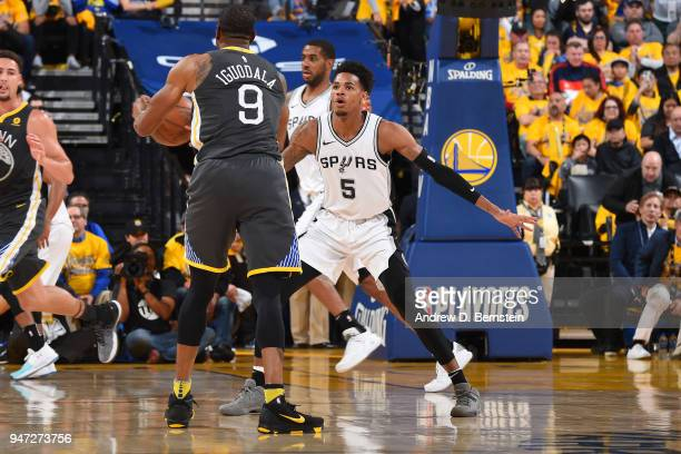 Dejounte Murray of the San Antonio Spurs plays defense against the Golden State Warriors in Game Two of Round One of the 2018 NBA Playoffs on April...