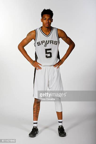 Dejounte Murray of the San Antonio Spurs poses for a portrait during Media Day at the Spurs Training Facility on September 26 2016 in San Antonio...