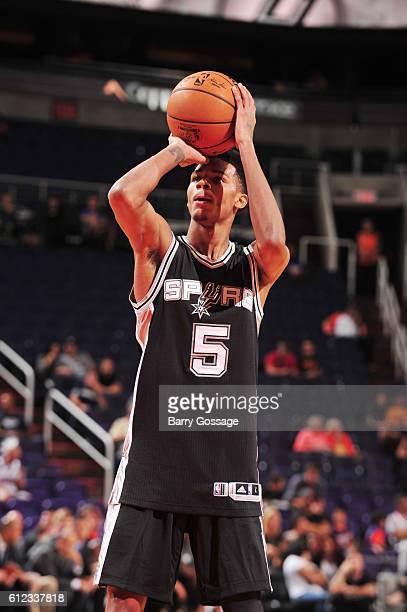 Dejounte Murray of the San Antonio Spurs shoots a free throw against the Phoenix Suns during a preseason game on October 3 2016 at Talking Stick...
