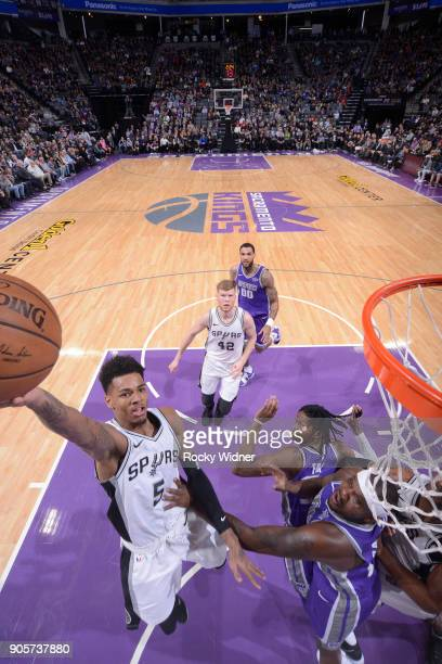 Dejounte Murray of the San Antonio Spurs shoots a layup against the Sacramento Kings on January 8 2018 at Golden 1 Center in Sacramento California...