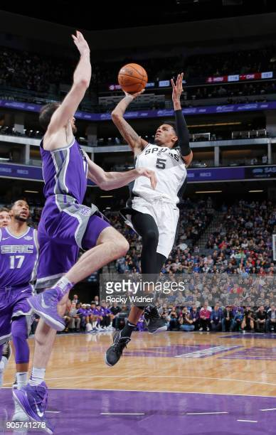 Dejounte Murray of the San Antonio Spurs shoots against the Sacramento Kings on January 8 2018 at Golden 1 Center in Sacramento California NOTE TO...