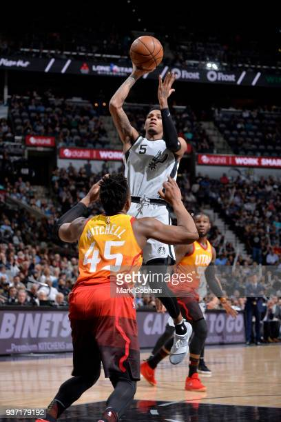 Dejounte Murray of the San Antonio Spurs shoots the ball against the Utah Jazz on March 23 2018 at the ATT Center in San Antonio Texas NOTE TO USER...