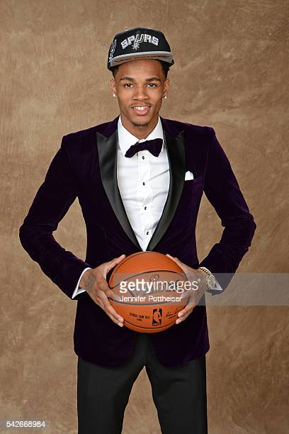 Dejounte Murraye poses for a portrait after being drafted number twenty nine overall to the San Antonio Spurs during the 2016 NBA Draft on June 23...