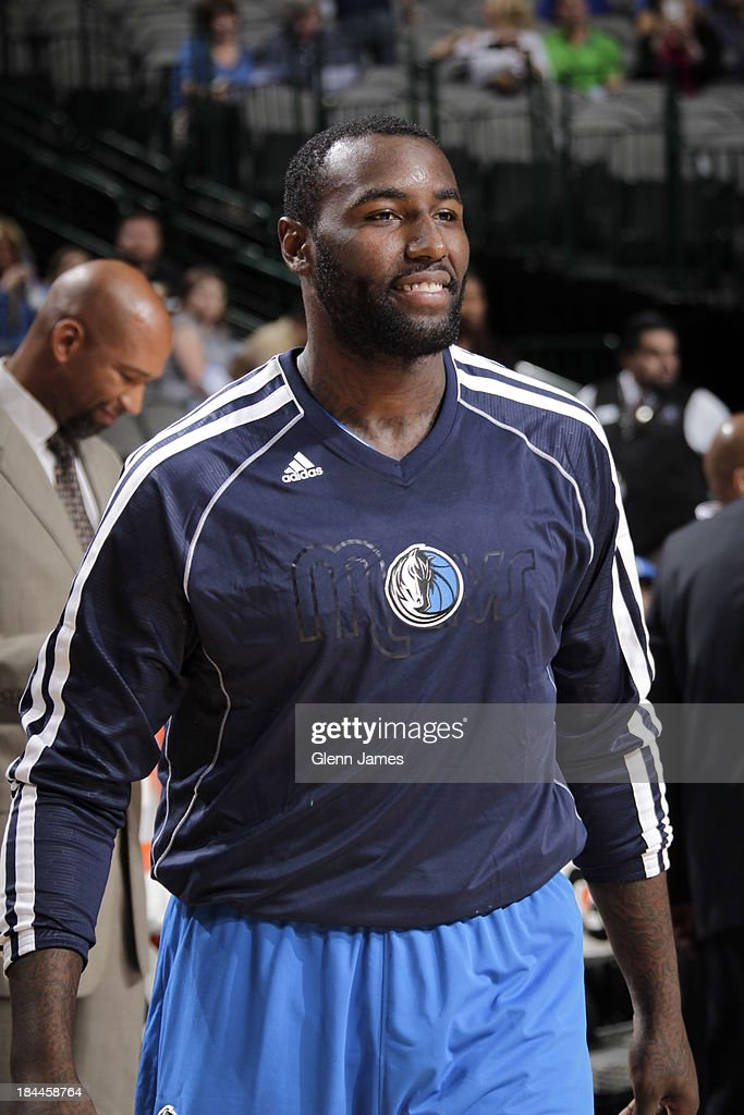 DeJuan Blair #45 of the Dallas MAvericks warms up before the game against the New Orleans Pelicans on October 7, 2013 at the American Airlines Center in Dallas, Texas.