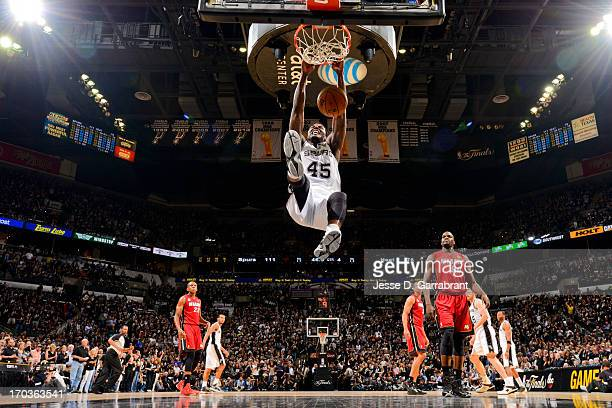 DeJuan Blair of the San Antonio Spurs dunks against the Miami Heat during Game Three of the 2013 NBA Finals on June 11 2013 at ATT Center in San...