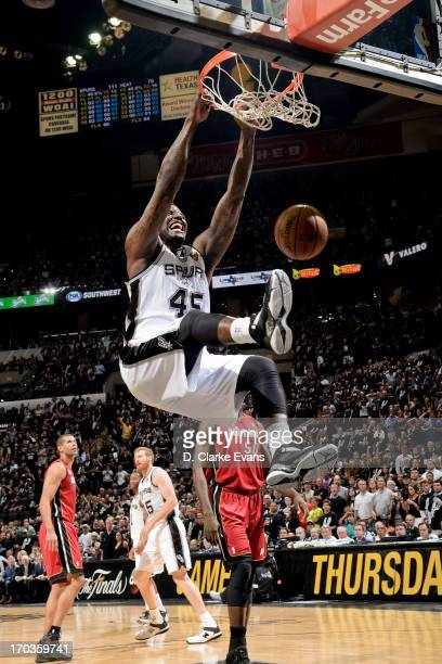 DeJuan Blair of the San Antonio Spurs dunks in the fourth quarter against the Miami Heat during Game Three of the 2013 NBA Finals on June 11 2013 at...