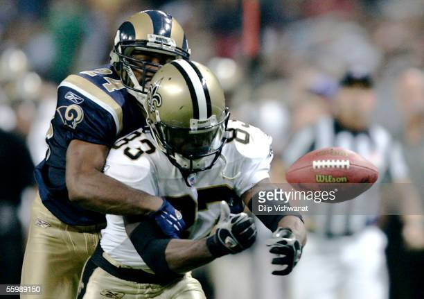 DeJuan Groce of the St Louis Rams breaks up a pass intended for Donte Stallworth of the New Orleans Saints at the Edward Jones Dome on October 23...