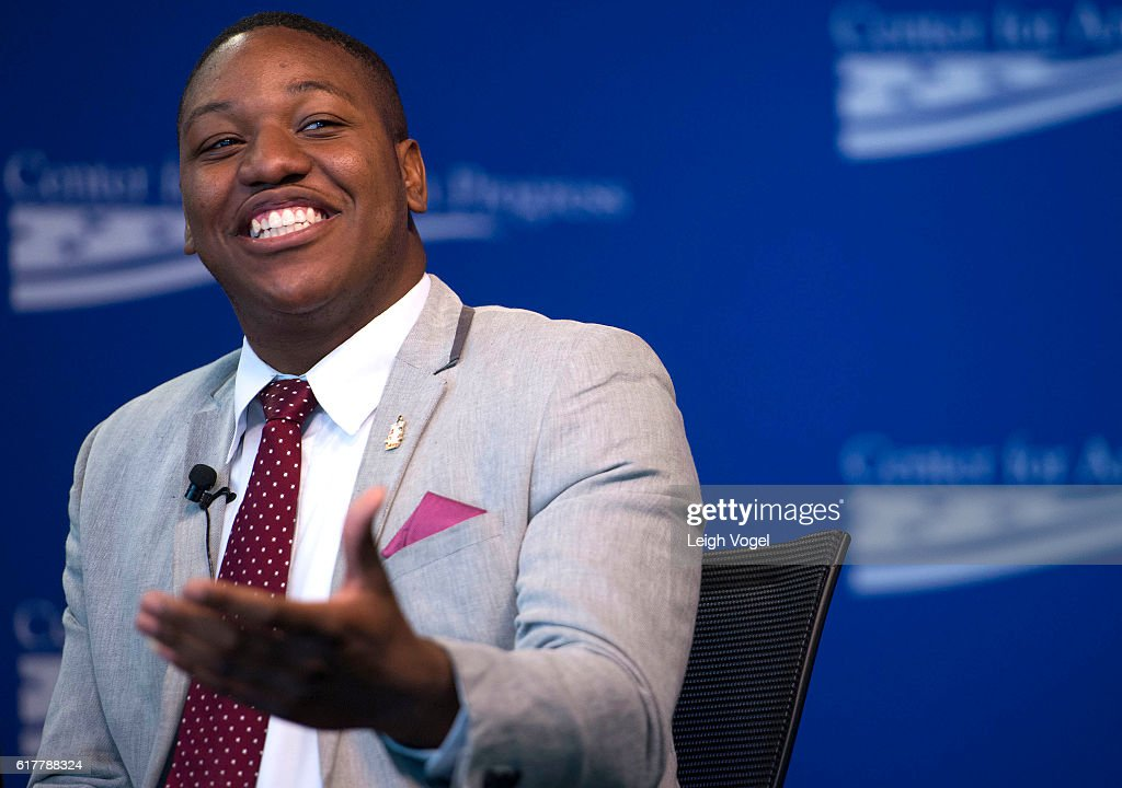 Dejuan Patterson, community activist and consultant for the BeMoreGroup, speaks about his personal experience with gun violence, community, and the police, at the Center for American Progress event 'Debbie Allen On Arts and Lived Experience: Race, Violence, And Access To The American Dream' on October 24, 2016 in Washington, DC.