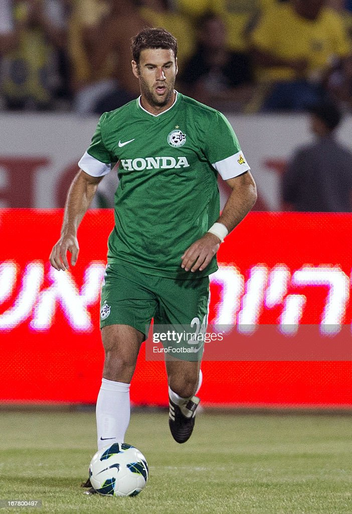 Dekel Keinan of Maccabi Haifa FC in action during the Israeli Premier League match between Maccabi Haifa FC and Maccabi Tel-Aviv FC held on April 29, 2013 at the Kiryat Eliezer Stadium in Haifa, Israel.